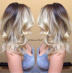 Dark brown base with light beige blonde ombré with balayage highlights - light in front and tips, dark on base