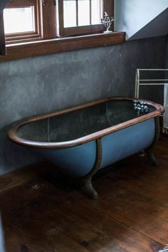 Image above: The stormy colors in this Catskills vacation home give us chills. A dip in this unique clawfoot tub could warm us up…maybe. Proof that black isn't the only frightful shade you have to work with. Interior And Exterior, Interior Design, Beautiful Bathrooms, My Living Room, Bathroom Inspiration, My Dream Home, Sweet Home, New Homes, House Design