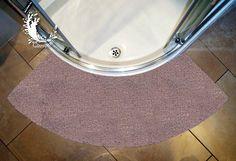 Microfibre Non Slip Large Curved Shower Mat - Stone Colour