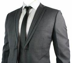 Mens Slim Fit Suit Charcoal Grey Black Trim Blazer Trouser Work Office Wedding P   eBay