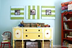 Love the idea of painting a vintage sideboard and using it as storage on a playroom : The Handmade Home