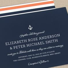 KATE - Nautical Wedding Invitation | ©The Occasional Hello $5.50 for a sample kit at TheOHello.com