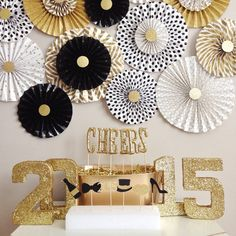 Party Backdrop || Black, White and Gold Glitter || New Year's Eve Paper Fan Backdrop (set of 8) on Etsy, $55.00
