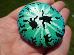 """Sea Turtles"" hand painted rock for a community hunt/hide rock painting group called #BuckleyRocksToo.  Acrylic paint with glossy clear coat. #PaintedRocks #RockPainting #RockArt"