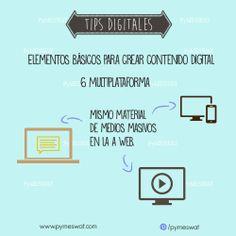"""#TipsDigitales """"Elementos básicos para crear contenido digital. Multiplataforma: aprovecha el contenido que generas para medios masivos y bájalo a la web #MarketingDigital #PublicidadOnline #SocialMedia Fuente: InformaBTL"""