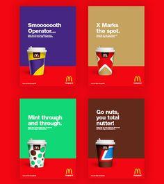 Le studio de design STUDIOJQ propose un concept de marque pour revoir le design des tasses des boissons chaudes utilisées par McDonalds. Elles ont été repensées dans un style minimaliste couvert de couleurs vibrantes pour distinguer les différentes saveurs. Le studio a développé une gamme de boissons aromatisées constituées de leurs barres de chocolat.