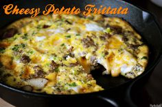 *Cheesy Potato Frittata* <> Main Ingredients: 1. Eggs, 2. Sausage, 3. Potatoes, 4. Jack cheese, 5. Onion <> Standard Ingredients: Butter, olive oil, dried thyme, milk, salt, and pepper