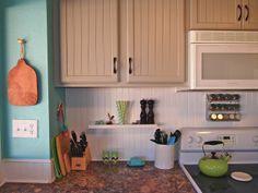 Home Away From Home: DIY Kitchen, beadboard backsplash, beadboard painted cabinets