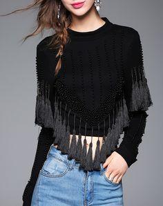 #AdoreWe #VIPme Blouses & Shirts - LANJIAN Black Tassel Beaded Sexy Blouse - AdoreWe.com