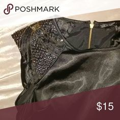 Topshop beaded shoulder satin top Sleek satin with bejeweled cap sleeves.Back zipper closure. Like new condition. Topshop Tops Blouses