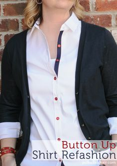 Button Up Shirt Refashion SUPER CUTE - JUST RIBBON & RED BUTTONS!
