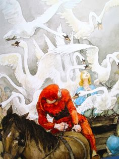 """The Wild Swans"" by  Hans Christian Andersen illustrated by the Danish artist Svend Otto S (1916-66)"