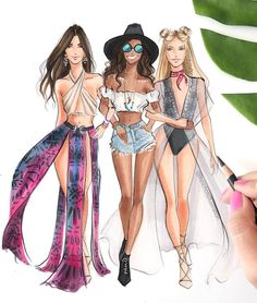 #Festival #Coachella #FashionIllustrations @hnicholsillustration/ hnillustration.etsy.com| Be Inspirational ❥|Mz. Manerz: Being well dressed is a beautiful form of confidence, happiness & politeness