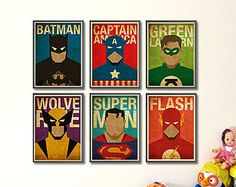 Hero Poster Set. Superman Flash Batman Green Lantern by POSTERSHOT