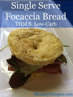 Make this Trim Healthy Mama single serve focaccia bread in just minutes! Delicious and perfect for your favorite on plan sandwich.