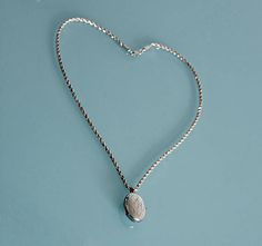 Vintage Sterling Silver Etched Oval Locket with Long Heavy