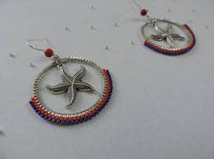 Boucles d'oreille créole avec tissage en perles miyuki