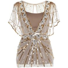 Temperley London Gold Web Top ($1,295) ❤ liked on Polyvore featuring tops, shirts, blouses, blusas, gold, special occasion tops, cocktail tops, gold sequin top, gold shirt and holiday tops
