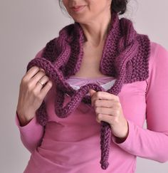 Hand knit chunky cable neckwarmer scarf cowl wrap collar with large  drawstrings bow tie - Twist Me Around in purple fig or CHOOSE YOUR COLOR