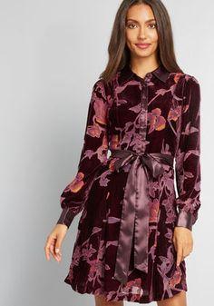 Efflorescent Dreams Velvet Shirt Dress in XXS - Long Mini by ModCloth Velvet Shirt Dress, Velvet Shirts, Short Sleeve Dresses, Dresses With Sleeves, Long Sleeve, Fashion Moda, Unique Dresses, Pretty Dresses, Modcloth