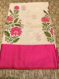 To customize whatsapp 9043230015 for Saree, blouse and Kurtis. Embroidery Suits Design, Diy Embroidery, Embroidery Patterns, Indian Silk Sarees, Tussar Silk Saree, Saree Painting, Fabric Painting, Crochet Cushion Cover, Dress Neck Designs