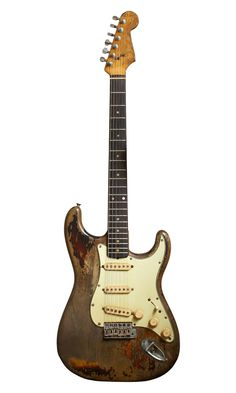 "Rory Gallagher's '61 Strat.   ""The battle-scars of Rory's Strat were not down to roughshod treatment, but due to his blood group type, extremely rare, that had a very high acidic content. So when Rory sweated on stage - and he sweated buckets -it was like paint stripper."""