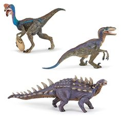 Papo Polacanthus, Papo blue Oviraptor and the Papo blue Velociraptor.