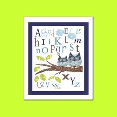 ABC Art Print - Nursery Art Print - Owl Nursery Art Print - Children room decor via Etsy