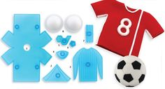Soccer Ball and Shirt by Jem - Set of 8 pieces. Set includes shirt, shoulder detail, shirt detail, collar, 2 x ball panels, stripes and formers. Fondant Molds, Cake Mold, Soccer Theme, Cake Decorating Tools, Soccer Shirts, Baking Tools, Chocolate Molds, Cookie Cutters, Kids Rugs