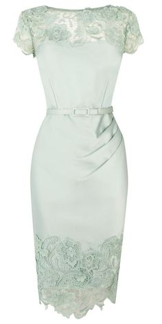 Mint lace pencil dress by AislingH