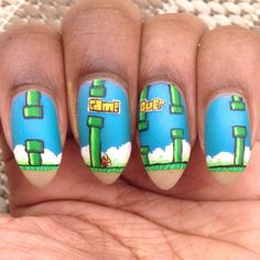 Flappy Bird nail art -- so creative!