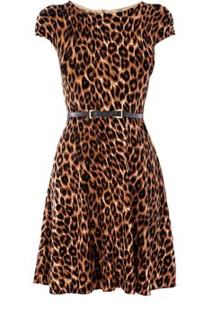 A knitted dress to keep us warm in an animal print to keep us stylish.