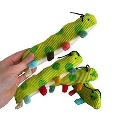 Handmade Nursery Organic Baby Rattle Inchworm Infant Toy Rainbow Brights Color…