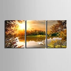 E-HOME® Stretched Canvas Art Lake Decoration Painting Set of 3 - USD $ 64.79