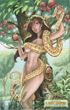 Eve by J Scott Campbell Anime Fantasy, Fantasy Art, Comic Book Artists, Comic Artist, Comic Books Art, J Scott Campbell, Comics Illustration, Illustration Fantasy, Cartoon Art