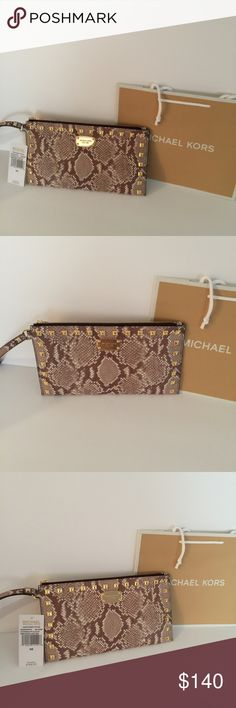 Michael Kors Snakeskin Studded Clutch Beautiful Brand New Snakeskin Clutch SIZE: 10x5.5X1 MICHAEL Michael Kors Bags Clutches & Wristlets