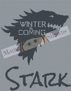 Winter is Coming Inspired Fan Art, Graphghan, Written Pattern, Crochet Pattern, Game of Thrones, House Stark, Ned Stark, Direwolf by MamaShawns on Etsy
