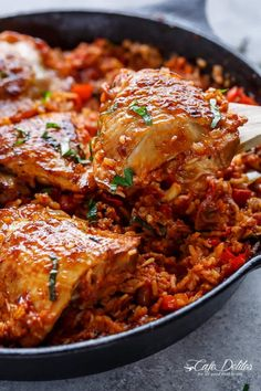 One Pan Tomato Basil Chicken & Rice - Cafe Delites chicken thigh recipes tomato Tomato Rice, Tomato Basil, Oven Roasted Chicken, Chicken Bacon, Crispy Chicken, Healthy Chicken, Tandoori Chicken, Chicken Rice Recipes, Chicken Meals