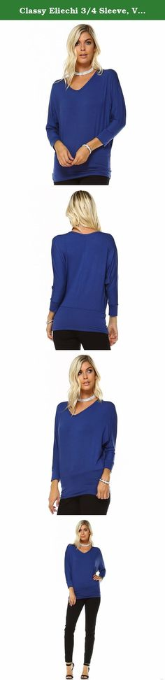 Classy Eliechi 3/4 Sleeve, V-Neck Batwing Dolman Blouse - Made in USA (Medium, Navy). Captivate Everyone's Attention At Your Next Outing with a Stylish, Classy Batwing Dolman Blouse Top by Eliechi! Want to look gorgeous every day, even in a relaxed, casual outfit? Would you love to captivate everyone's attention with a classy, super sexy blouse top that is perfect for every occasion? Then you need look no further than this beautiful, Eliechi batwing dolman blouse! Complete Your Casual…