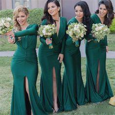Bridesmaid Dresses, Emerland Green Bridesmaid Dresses, 2017 Bridesmaid Dresses,Mermaid Bridesmaid Dress,Long Sleeves Wedding Party Dresses, Plus Size Bridesmaid Dresses,Bridesmaid Dresses For Winter