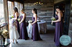 Beautiful eggplant purple bridesmaid's dresses. Daniel Taylor Photography