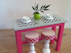 Kitchen Island with 2 stools, barbie kitchen furniture, Monster High furniture on Etsy, $45.00