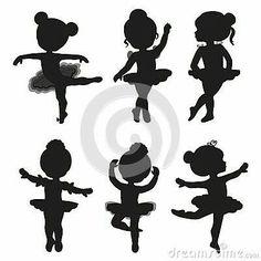 Set of silhouettes of little ballerinas – Kaufen Sie diese Illustration bei Shutterstock und finden Ballerina Kunst, Ballerina Birthday, Little Ballerina, Ballerina Silhouette, Balerina, Free Vector Art, Royalty Free Images, Diy And Crafts, Clip Art