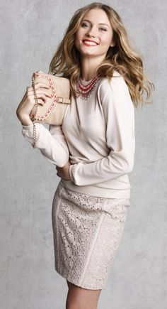 Ornate Vintage Lace Pencil Skirt with Supernova Statement Necklace