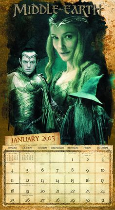 January Spread from the New 2015 Battle of the Five Armies Hobbit Wall Calendar