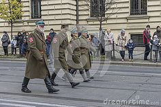 Historical polish soldiers parade celebrating Polish Independence Day in Krakow on November 11 .