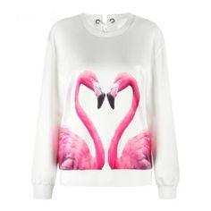 Women's Pink Flamingo Round Neck Sweatshirt
