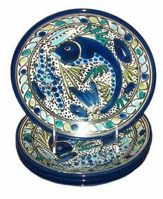 Le Souk Ceramique Side Plates, Set of 4, Aqua Fish Design by Le Souk Ceramique, http://www.amazon.com/dp/B000ZMHDGM/ref=cm_sw_r_pi_dp_6vZcrb1SQT8J3