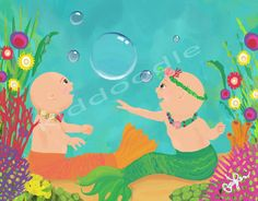 Baby Mermaids fine art print for children, kids room and nursery decor wall art by kiddoodleart offers Free US Shipping