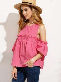 Hot Pink Ruffle Cold Shoulder Blouse -SheIn(Sheinside)